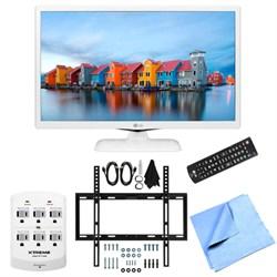 24LF4520-WU - 24-Inch HD 720p 60Hz LED TV (White) Slim Flat Wall Mount Bundle
