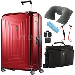 "28"" Neopulse Hardside Spinner in Metallic Red - Ultimate Travel Bundle"