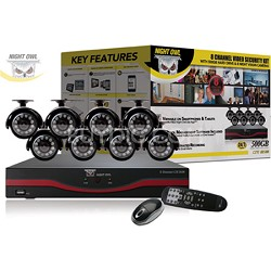 8 Channel LTE D1 DVR w/ 500GB Hard Drive, 8 x Indoor/Outdoor Night Vision Camera