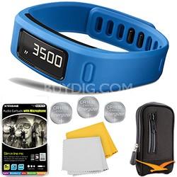 Vivofit Bluetooth Fitness Band (Blue) Plus Deluxe Bundle