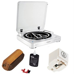 Fully Automatic Wireless Belt-Drive Stereo Turntable - White w/ Cleaning Kit