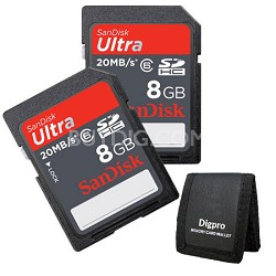 2 Pack 8 GB Ultra SDHC Memory Card 20MB/s (Class 6) + Memory Card Wallet