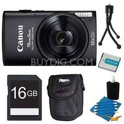 Powershot ELPH 330 HS Black Digital Camera 16GB Bundle