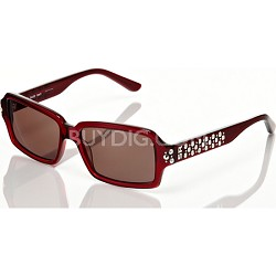 Red Frame with Brown Lens and Studded Detail Sunglasses