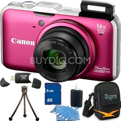 PowerShot SX230 HS Red Digital Camera 8GB Bundle