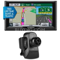 "nuvi 68LMT 6"" Essential Series 2015 GPS System Maps & Traffic Vent Mount Bundle"