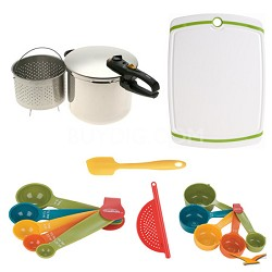 Duo 10 Qt. Stainless Steel Pressure Cooker, Board, and Measuring Sets Bundle