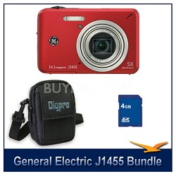 J1455 14MP Smart Series Red Digital Camera 4GB Memory Card and Case Bundle