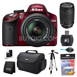 D3200 DX-Format Red Digital SLR Camera 18-55mm and 70-300mm (MANUAL FOCUS) Kit