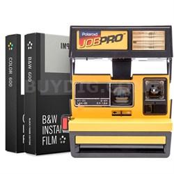 Polaroid 600 Job Pro Instant Film Camera, Flash Yellow w/ Dual Film Bundle