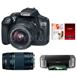 EOS Rebel T6 18MP DSLR Camera w/ 18-55mm + 75-300mm Lenses + Pro 100 Printer Kit