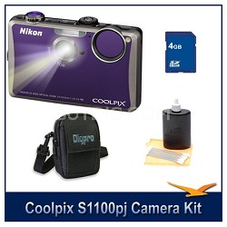 COOLPIX S1100pj Violet Digital Camera Kit w/ 4 GB Memory, Case, & More
