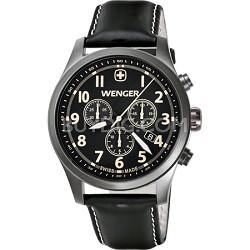 Men's Terragraph Chonograph Watch - Black Dial/Black Leather Strap