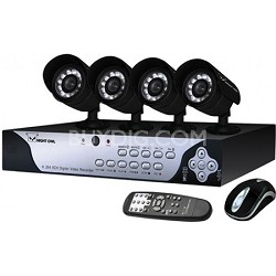 8-channel H.264 DVR w/ 4 Night Vision Cameras (500GB HDD) - FACTORY REFURBISHED