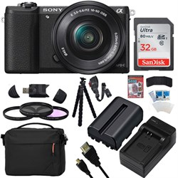 a5100 Mirrorless Camera w/ 16-50mm Lens 32GB Black Bundle