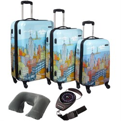 "CityScapes NYC 3 Piece Premium 20"", 24"", 28"" Spinner Luggage Set w/ Travel Kit"
