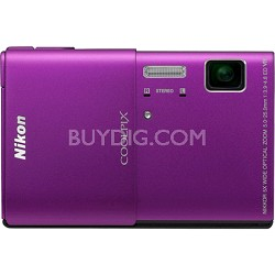 COOLPIX S100 16MP Purple Compact Digital Camera w/ 3.5 inch Touch Screen