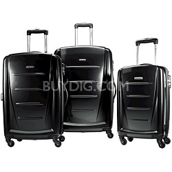 Winfield 2 3 Piece Roller Luggage Set (Black)