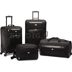 """Brookfield Blk 4 Pc Luggage 21""""/25"""" Spinners, Boarding,Wheeled Duffle - OPEN BOX"""