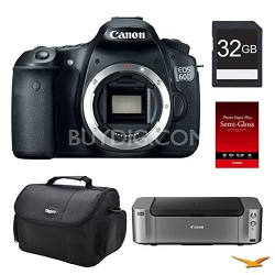 EOS 60D DSLR Camera (Body), 32GB, Printer Bundle