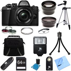 OM-D E-M10 Mark II Mirrorless Digital Camera Black 14-42mm EZ Lens 64GB Bundle