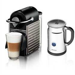 Pixie Espresso Maker With Aeroccino Plus Milk Frother, Electric Titan