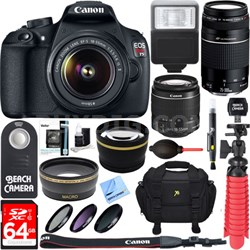 EOS Rebel T5 DSLR Camera + EF-S 18-55mm & 75-300mm Lens Kit 64GB Memory Bundle