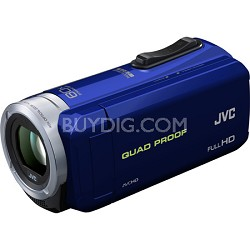 GZ-R10A Quad Proof Blue 2.5 MP 40x Dynamic Zoom 60x Digital Zoom HD Camcorder