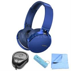 Extra Bass Bluetooth Wireless Headphones - Blue w/ Power Bank Bundle