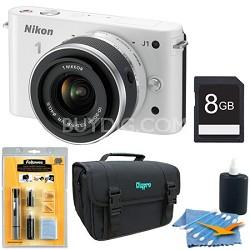 1 J1 SLR White Digital Camera w/ 10-30mm VR Lens Bundle Deluxe Edition