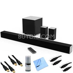 38-inch 5.1ch Bluetooth Sound Bar System w/ Wireless Sub Plus Hook-Up Bundle