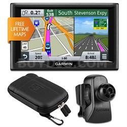 """nuvi 57LM 5"""" Essential Series 2015 GPS w Lifetime Maps Vent Mount & Case Bundle"""