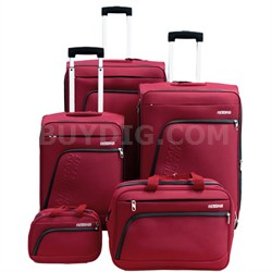 "Glider 5Pc Spinner Luggage Set 28"", 24"", 20"", Boarding & Toiletry Bag - Red"