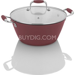 Michelle B. by Fagor Cast Iron Lite 5 Quart Soup Pot with Lid - Red