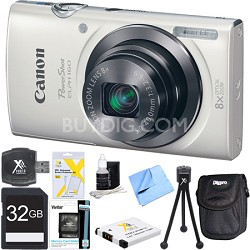 PowerShot ELPH 160 20MP 8x Opt Zoom HD Digital Camera White 32GB Ultimate Bundle