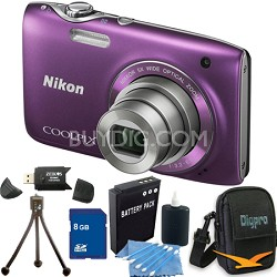 COOLPIX S3100 14MP Purple Compact Digital Camera 8GB Bundle