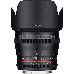 DS 50mm T1.5 Full Frame Wide Angle Cine Lens for Canon EF Mount - OPEN BOX