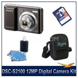 DSC-S2100 12MP Black Digital Camera with 4GB Card, Case, and More