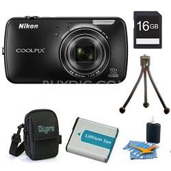 COOLPIX S800c 16MP 3.5 inch LED Black Digital Camera Kit