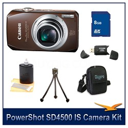 PowerShot SD4500 IS Bundle w/ 8GB Memory, Reader, Case, Mini Tripod & More