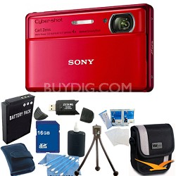Cyber-shot DSC-TX100V Red Digital Camera 16GB bundle