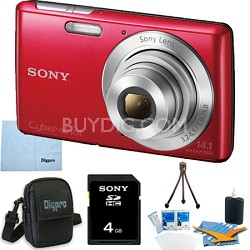 Cyber-shot DSC-W620 Silver 4GB Red Camera Bundle