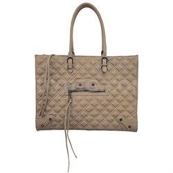 BZINNIA Quilted Large Tote Bag - Taupe
