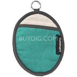 Cotton Oval Pot Holder with Silicone- Aqua