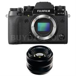 X-T2 4K Video OLED Viewfinder Mirrorless Digital Camera and 35mm Lens Bundle