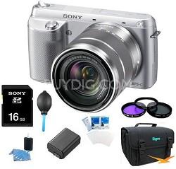 NEX-F3K Digital Camera built in flash with 18-55mm Lens (Silver) Ultimate Bundle