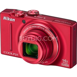 COOLPIX S8200 Red 14x Zoom 16MP Digital Camera