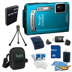 16GB Kit Tough TG-320 14MP Waterproof Shockproof Freezeproof Digital Camera - Bl