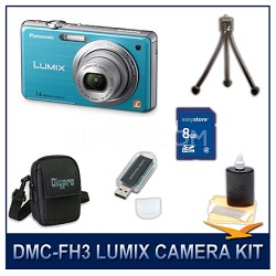 DMC-FH3A LUMIX 14.1 MP Digital Camera (Blue), 8GB SD Card, and Camera Case