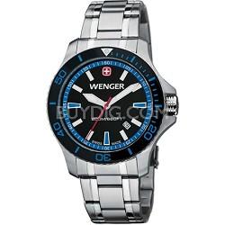 Men's Sea Force Swiss Watch - Black and Blue Dial/Stainless Steel Bracelet